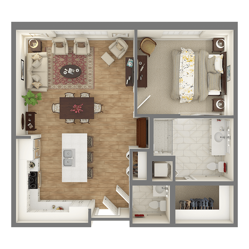 Poplar floor plan, 1 bedroom with walk-in closets, 1.5 bathrooms, open kitchen, living room, and open dining room.