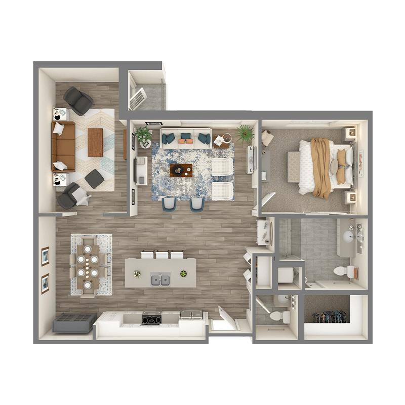 Cedar floor plan, 2 bedrooms with walk-in closets, 2.5 bathrooms, open kitchen, open dining room, foyer, balcony, den, and living room.