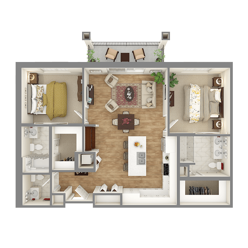 Chestnut floor plan, 2 bedrooms with walk-in closets, 2.5 bathrooms, open kitchen, open dining room, living room, and balcony.