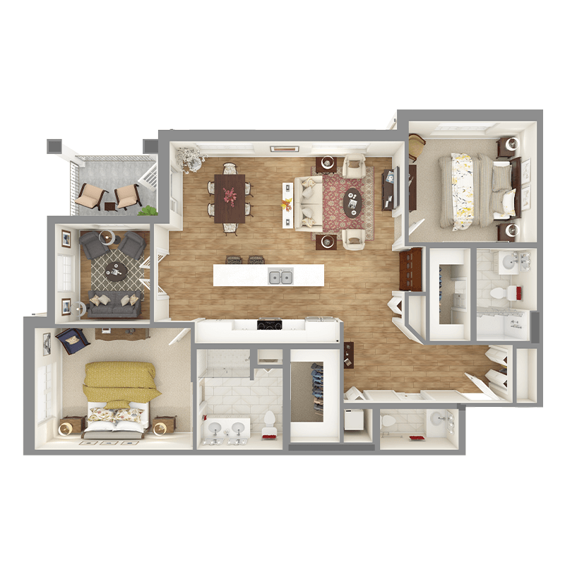 Sycamore floor plan, 2 bedrooms with walk-in closets, 2.5 bathrooms, open kitchen, open dining room, living room, balcony, and den.