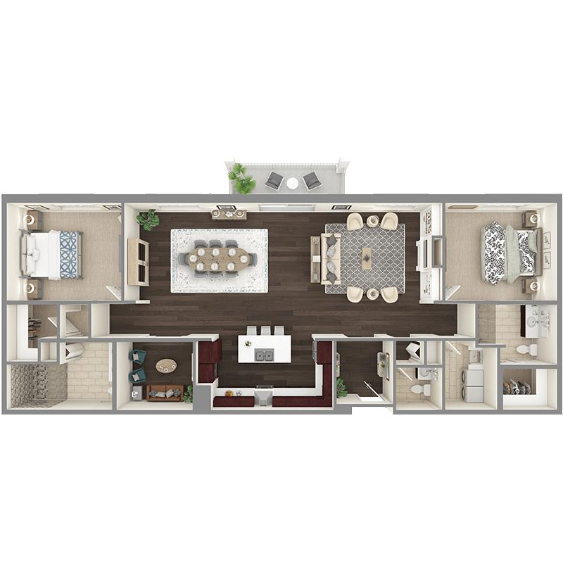 Maple floor plan, 2 bedrooms with walk-in closets, 2.5 bathrooms, open kitchen, open dining room, foyer, balcony, den, laundry room.