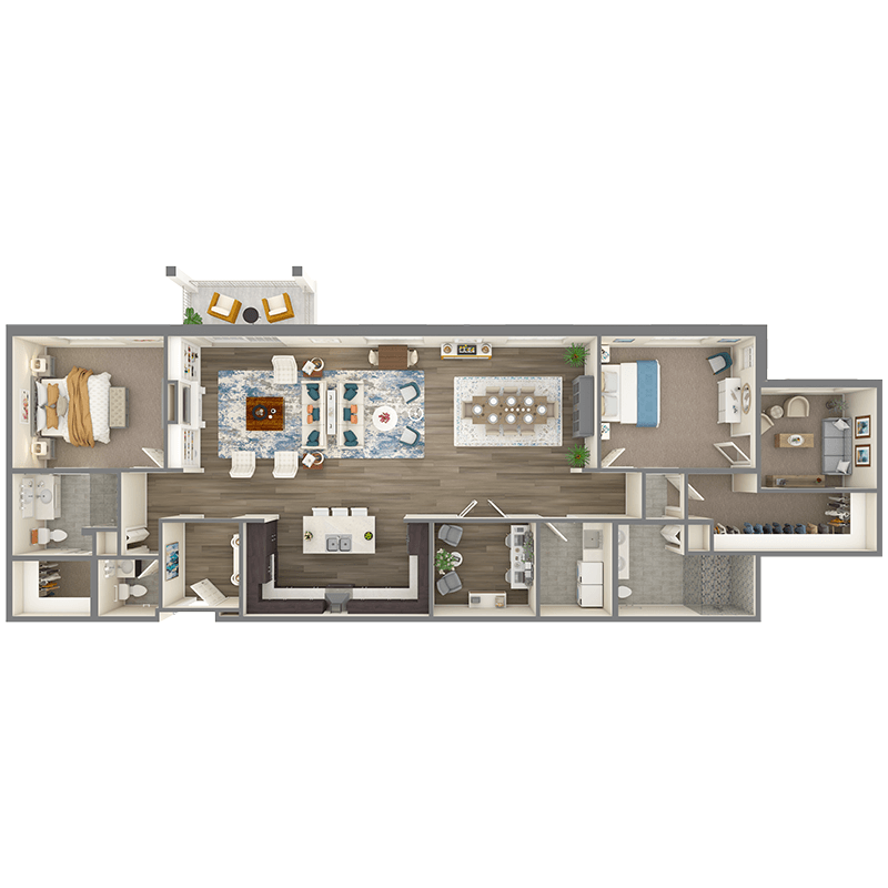 Walnut floor plan, 2 bedrooms with walk-in closets, 2.5 bathrooms, open kitchen, open dining room, living room, foyer, balcony, den, laundry room, and sitting room attached to main bedroom.