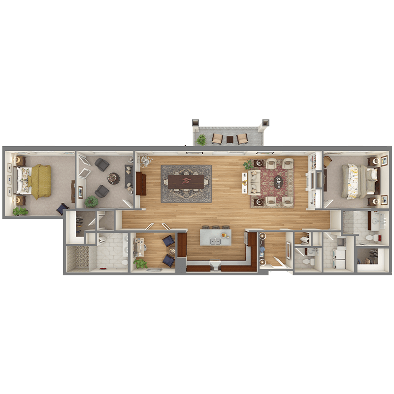 Birch floor plan, 2 bedrooms, 2.5 bathrooms, main bedroom with attached sitting room, open dining room, living room, den, balcony, foyer, laundry room, and walk-in closets.