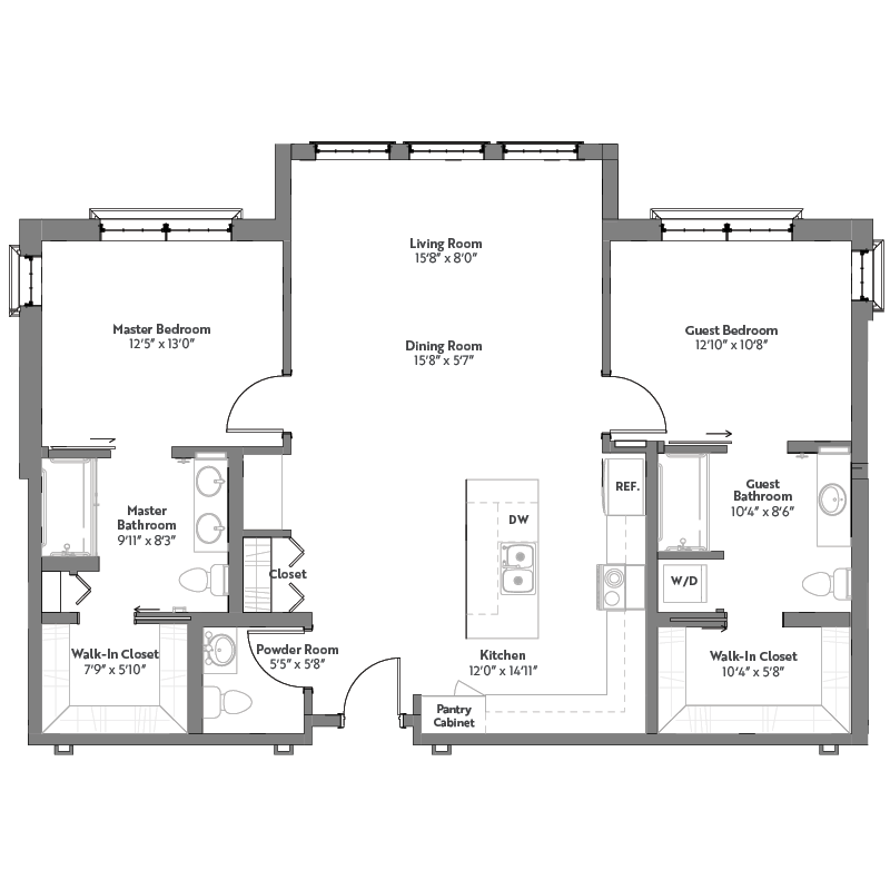 Magnolia floor plan, 2 bedrooms with walk-in closets, 2.5 bathrooms, open kitchen, open dining room, and living room.