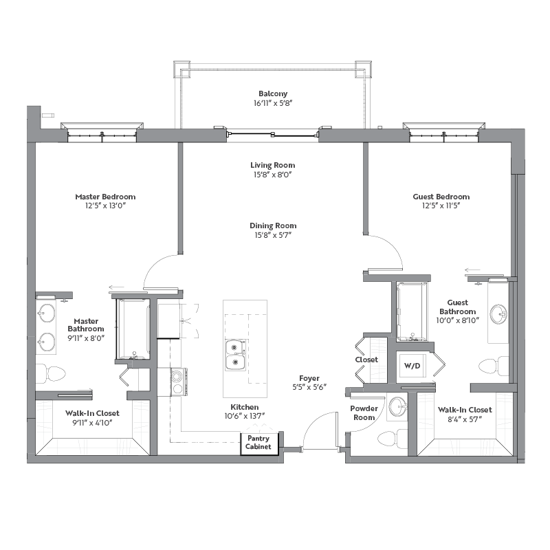 Willow floor plan, 2 bedrooms with walk-in closets, 2.5 bathrooms, open kitchen, open dining room, foyer, living room, and balcony.